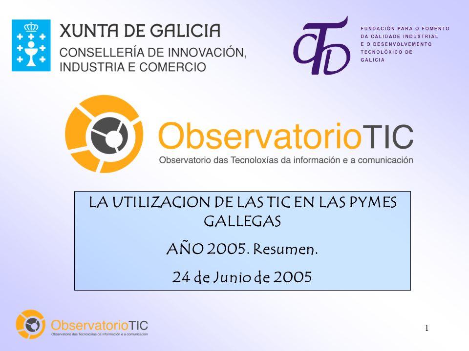 1 LA UTILIZACION DE LAS TIC EN LAS PYMES GALLEGAS AÑO 2005. Resumen. 24 de Junio de 2005