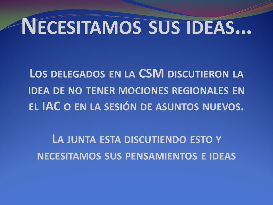 N ECESITAMOS SUS IDEAS … L OS DELEGADOS EN LA CSM DISCUTIERON LA IDEA DE NO TENER MOCIONES REGIONALES EN EL IAC O EN LA SESIÓN DE ASUNTOS NUEVOS.