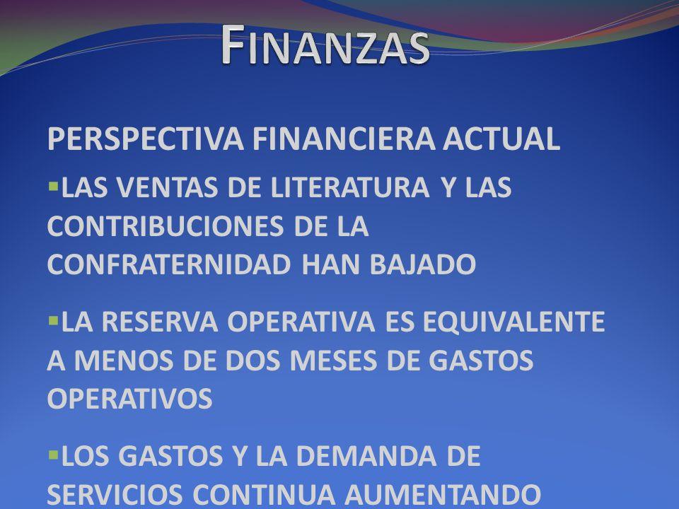 PERSPECTIVA FINANCIERA ACTUAL LAS VENTAS DE LITERATURA Y LAS CONTRIBUCIONES DE LA CONFRATERNIDAD HAN BAJADO LA RESERVA OPERATIVA ES EQUIVALENTE A MENOS DE DOS MESES DE GASTOS OPERATIVOS LOS GASTOS Y LA DEMANDA DE SERVICIOS CONTINUA AUMENTANDO