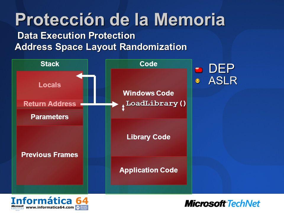 Mejoras en la Seguridad del Sistema Data Execution Prevention Forzada por el hardware y el software Hardware DEP Requiere que el procesador lo soporte