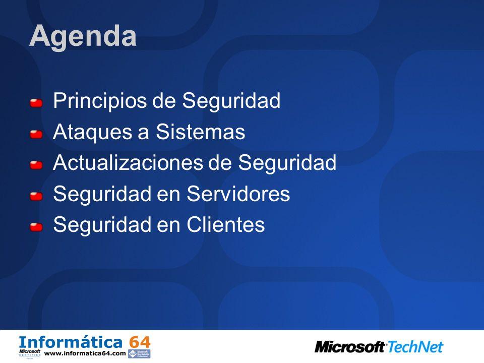 Agenda Principios de Seguridad Ataques a Sistemas Actualizaciones de Seguridad Seguridad en Servidores Seguridad en Clientes