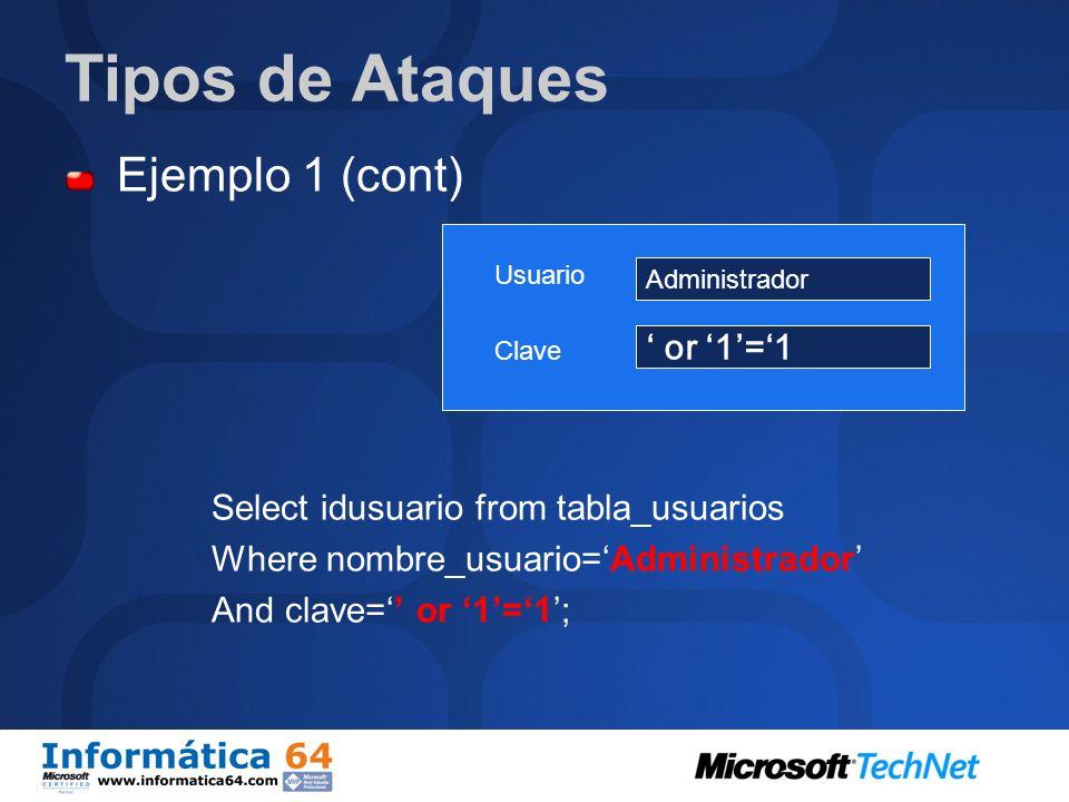 Tipos de Ataques Ejemplo 1: Autenticación de usuario contra base de datos. Select idusuario from tabla_usuarios Where nombre_usuario=$usuario And clav