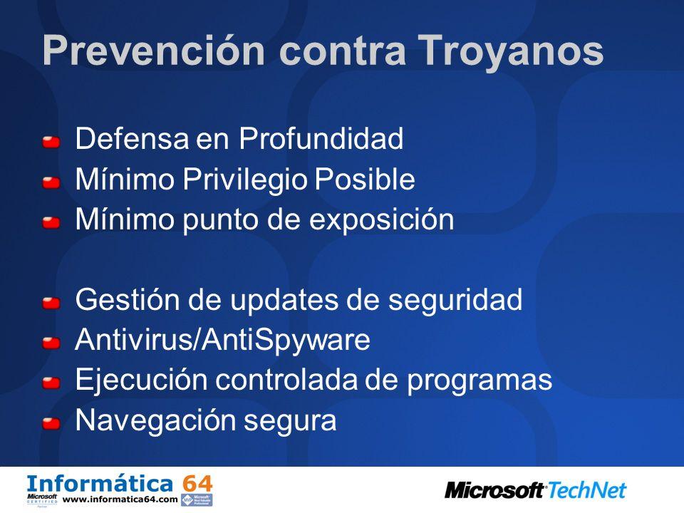 Detección de Troyanos Anti-Mallware Antivirus AntiSpyware Comportamiento anómalo del sistema Configuraciones nuevas Cambio en páginas de navegación Pu