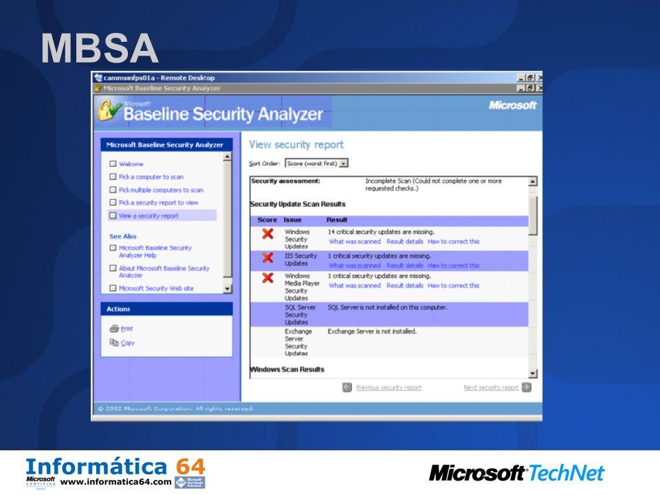 MBSA Ayuda a identificar sistemas Windows vulnerables. Escanea buscando actualizaciones no aplicadas y fallos en la configuración del software. Escane