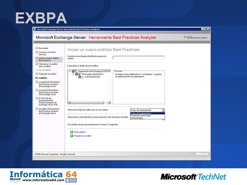 EXBPA Examina un despliegue de Exchange Server y determina si esta configurado siguiendo las recomendaciones de Microsoft. Genera una lista de puntos,