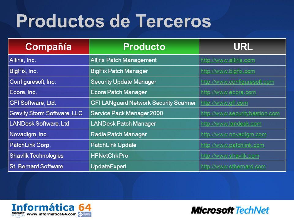 Herramientas para la Gestión de Actualizaciones Usuario Final y Pequeña Empresa: Microsoft Update Pequeña y Mediana Empresa: Windows Software Update S