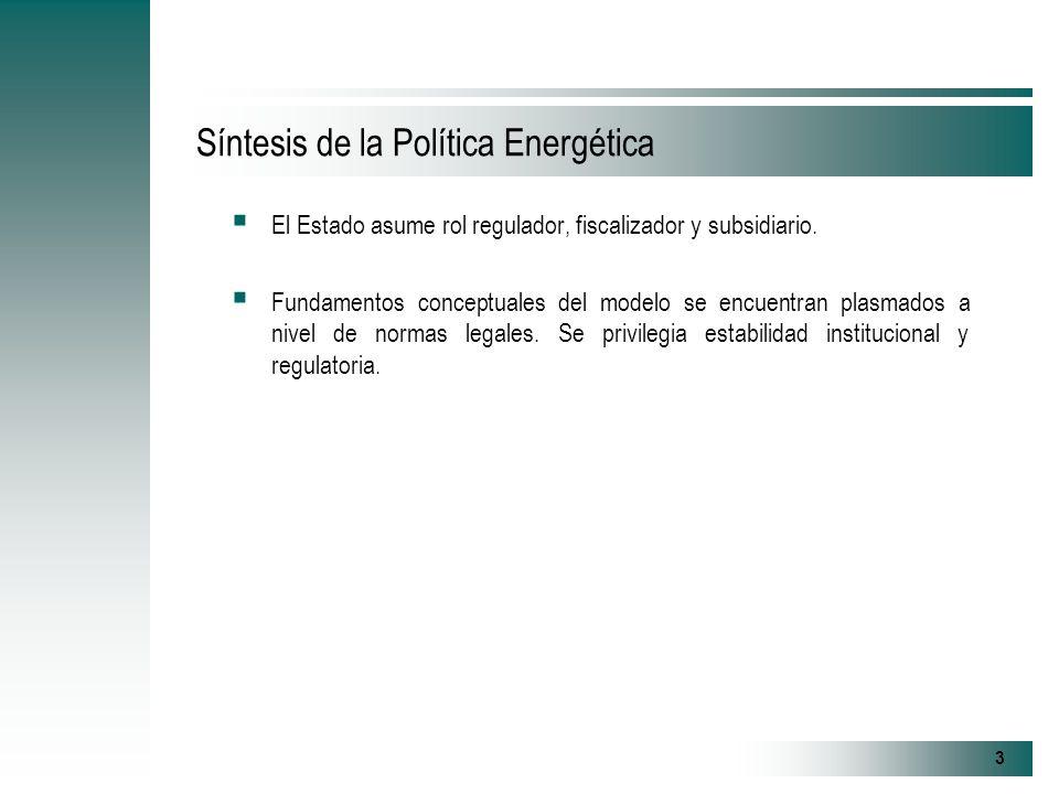 3 Síntesis de la Política Energética El Estado asume rol regulador, fiscalizador y subsidiario.
