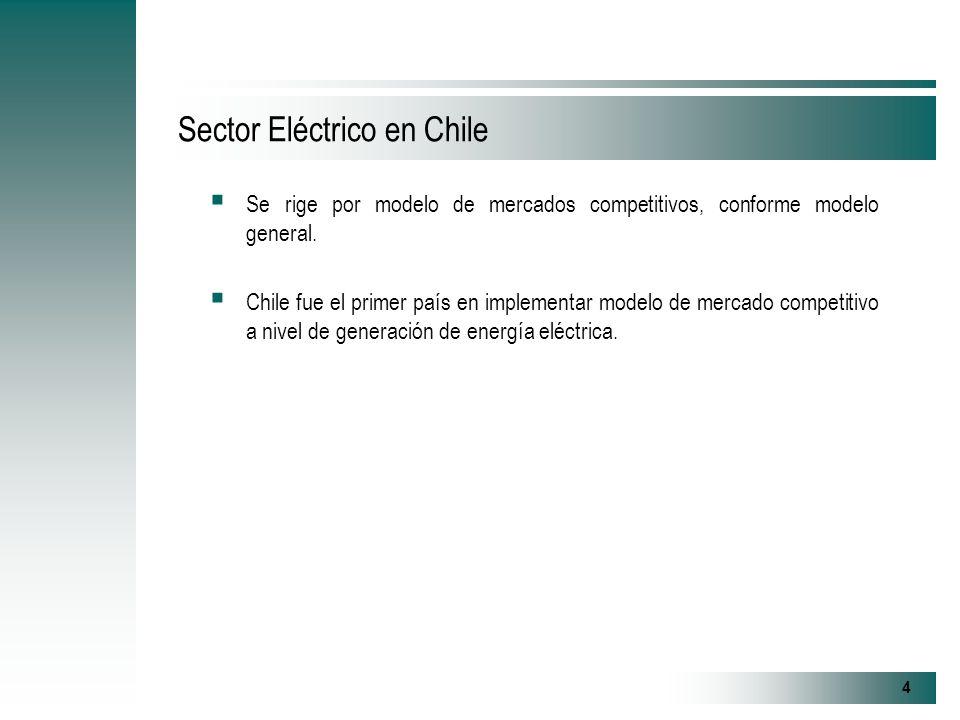 4 Sector Eléctrico en Chile Se rige por modelo de mercados competitivos, conforme modelo general.