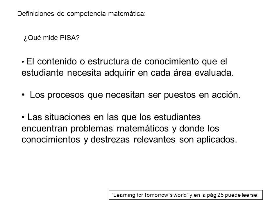 Definiciones de competencia matemática: El contenido o estructura de conocimiento que el estudiante necesita adquirir en cada área evaluada. Los proce