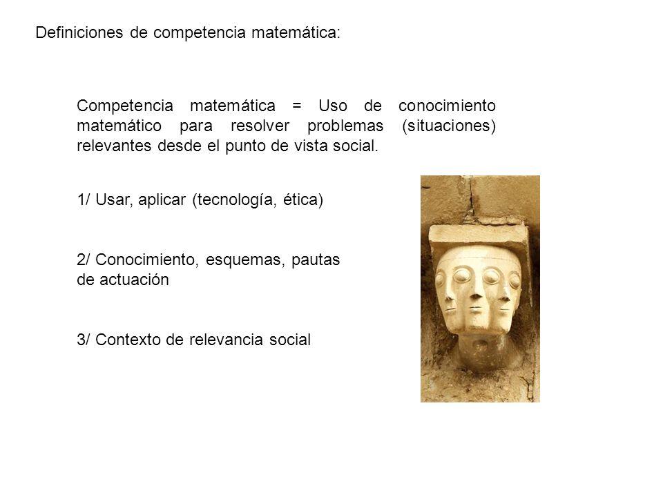 Definiciones de competencia matemática: Competencia matemática = Uso de conocimiento matemático para resolver problemas (situaciones) relevantes desde el punto de vista social.
