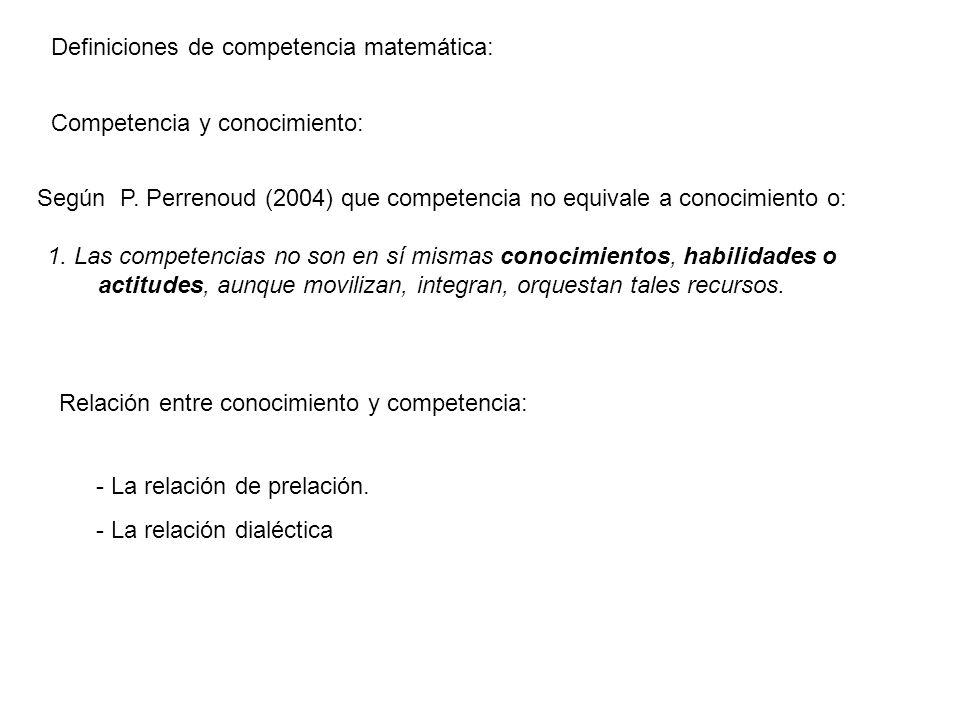 Definiciones de competencia matemática: Competencia y conocimiento: Según P. Perrenoud (2004) que competencia no equivale a conocimiento o: 1. Las com