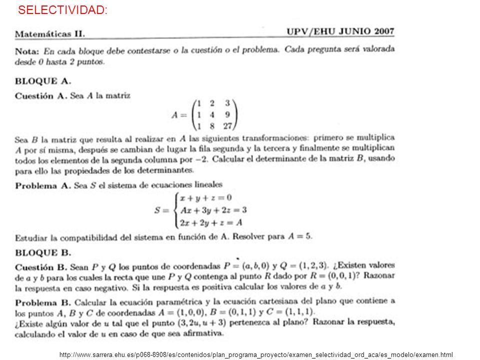 http://www.sarrera.ehu.es/p068-8908/es/contenidos/plan_programa_proyecto/examen_selectividad_ord_aca/es_modelo/examen.html SELECTIVIDAD: