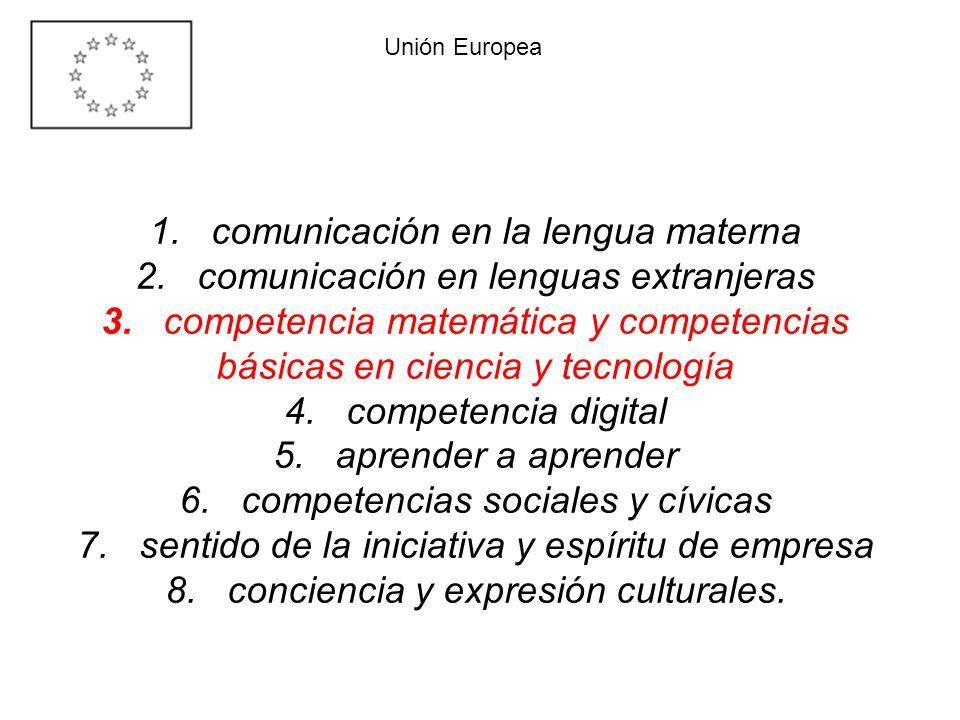 1. comunicación en la lengua materna 2. comunicación en lenguas extranjeras 3. competencia matemática y competencias básicas en ciencia y tecnología 4
