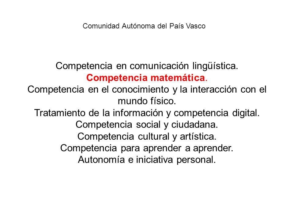 Competencia en comunicación lingüística. Competencia matemática. Competencia en el conocimiento y la interacción con el mundo físico. Tratamiento de l