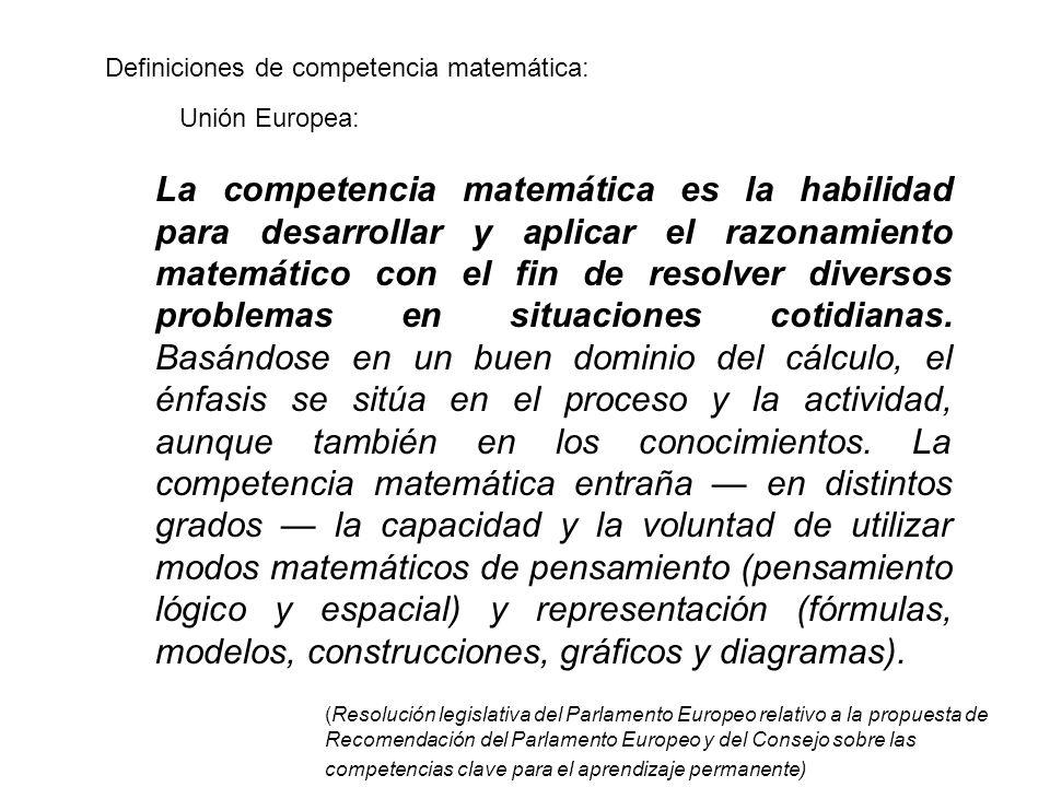 Definiciones de competencia matemática: La competencia matemática es la habilidad para desarrollar y aplicar el razonamiento matemático con el fin de resolver diversos problemas en situaciones cotidianas.