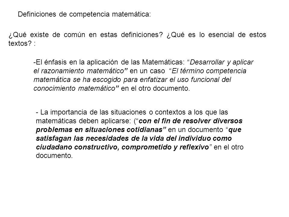 Definiciones de competencia matemática: ¿Qué existe de común en estas definiciones? ¿Qué es lo esencial de estos textos? : -El énfasis en la aplicació
