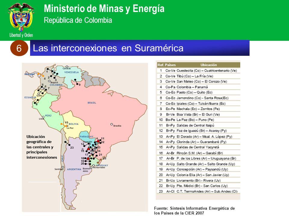 Ministerio de Minas y Energía República de Colombia Fuente: Síntesis Informativa Energética de los Países de la CIER 2007 Las interconexiones en Suram