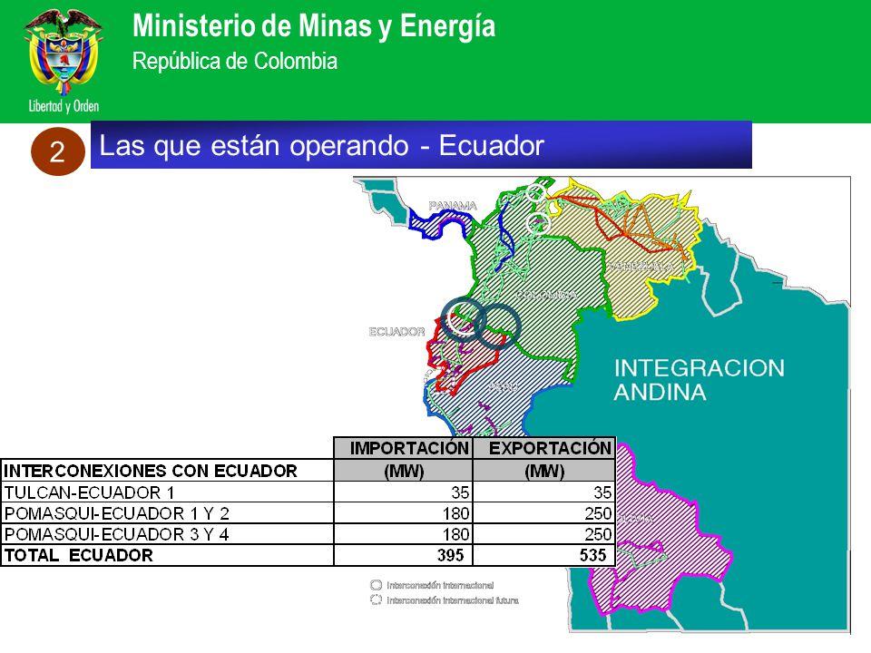 Ministerio de Minas y Energía República de Colombia Las que están operando - Ecuador 2