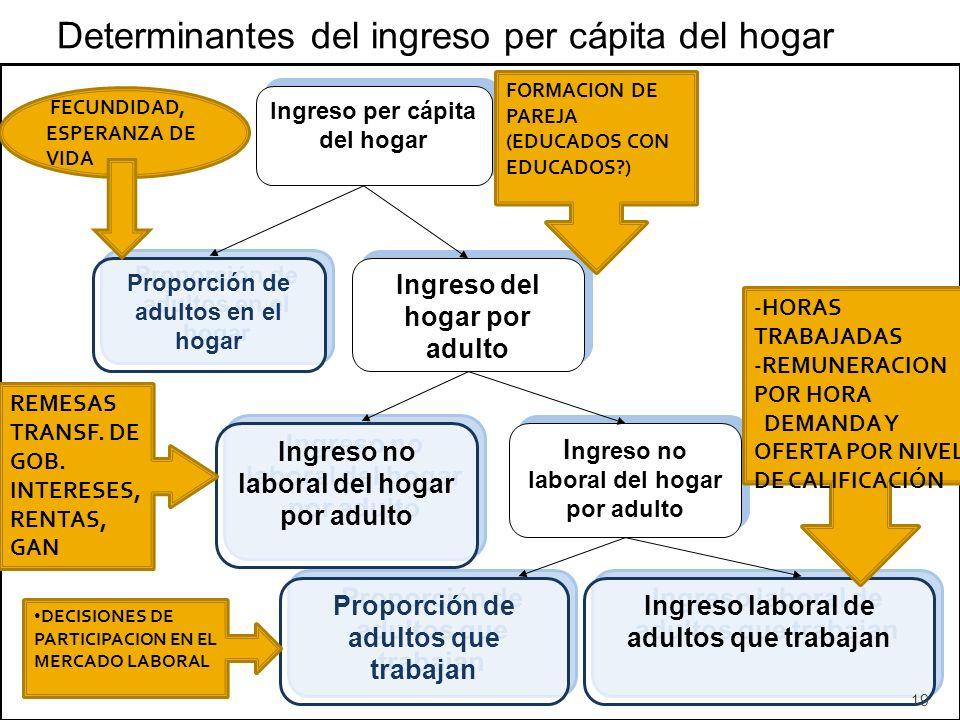 Determinantes del ingreso per cápita del hogar Ingreso per cápita del hogar Proporción de adultos en el hogar Ingreso del hogar por adulto Ingreso no laboral del hogar por adulto Proporción de adultos que trabajan Ingreso laboral de adultos que trabajan FECUNDIDAD, ESPERANZA DE VIDA REMESAS TRANSF.