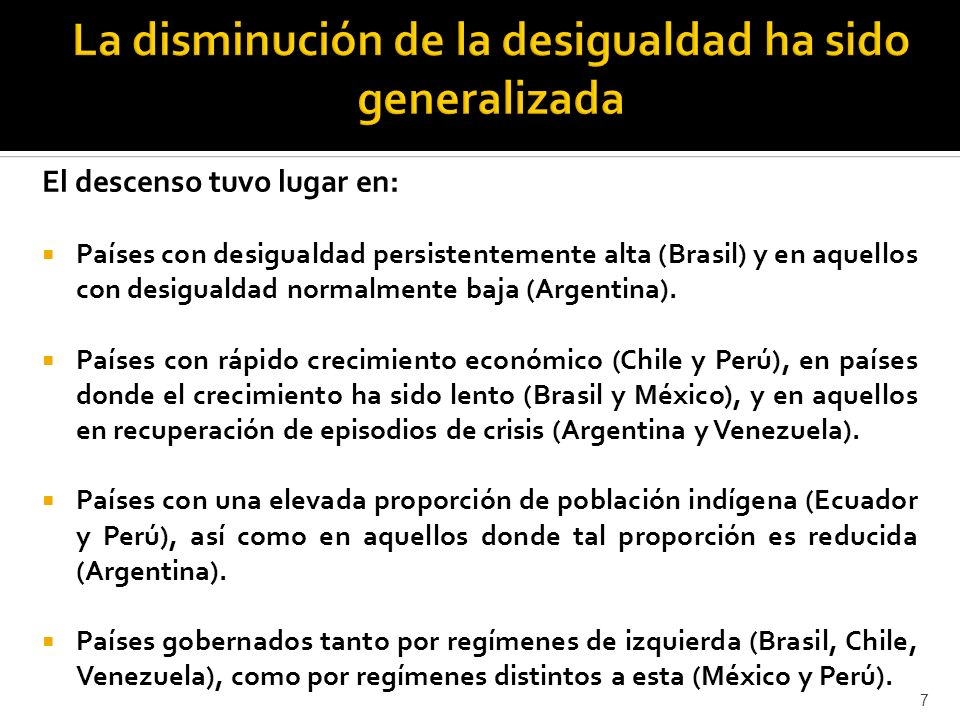 El descenso tuvo lugar en: Países con desigualdad persistentemente alta (Brasil) y en aquellos con desigualdad normalmente baja (Argentina).