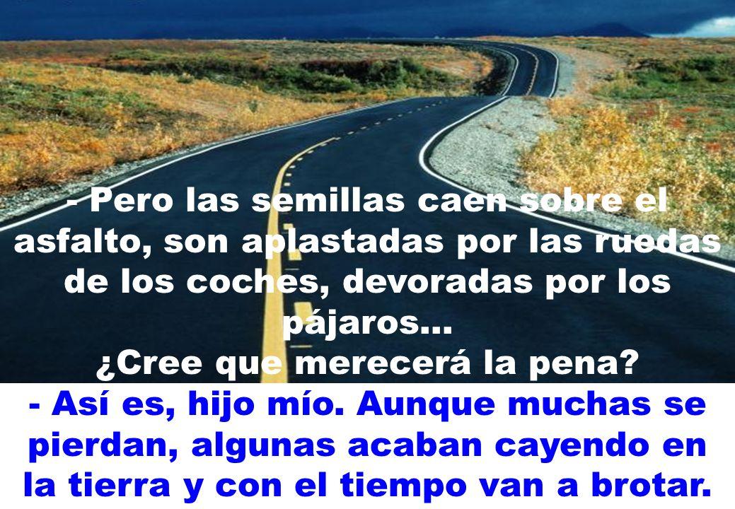 - Pero las semillas caen sobre el asfalto, son aplastadas por las ruedas de los coches, devoradas por los pájaros...