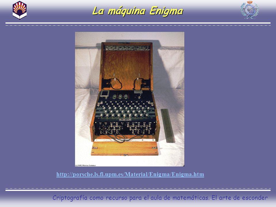 Criptografía como recurso para el aula de matemáticas. El arte de esconder La máquina Enigma http://porsche.ls.fi.upm.es/Material/Enigma/Enigma.htm