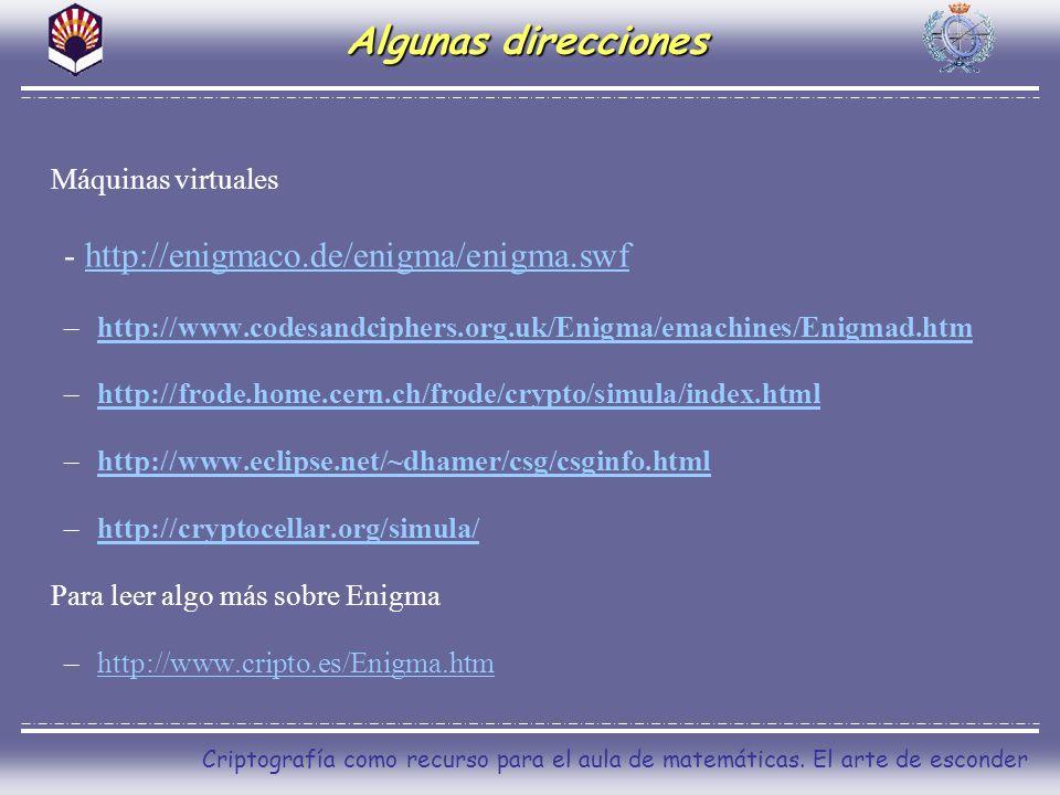 Algunas direcciones Máquinas virtuales - http://enigmaco.de/enigma/enigma.swfhttp://enigmaco.de/enigma/enigma.swf –http://www.codesandciphers.org.uk/E