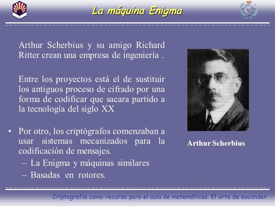 Criptografía como recurso para el aula de matemáticas. El arte de esconder La máquina Enigma Arthur Scherbius y su amigo Richard Ritter crean una empr