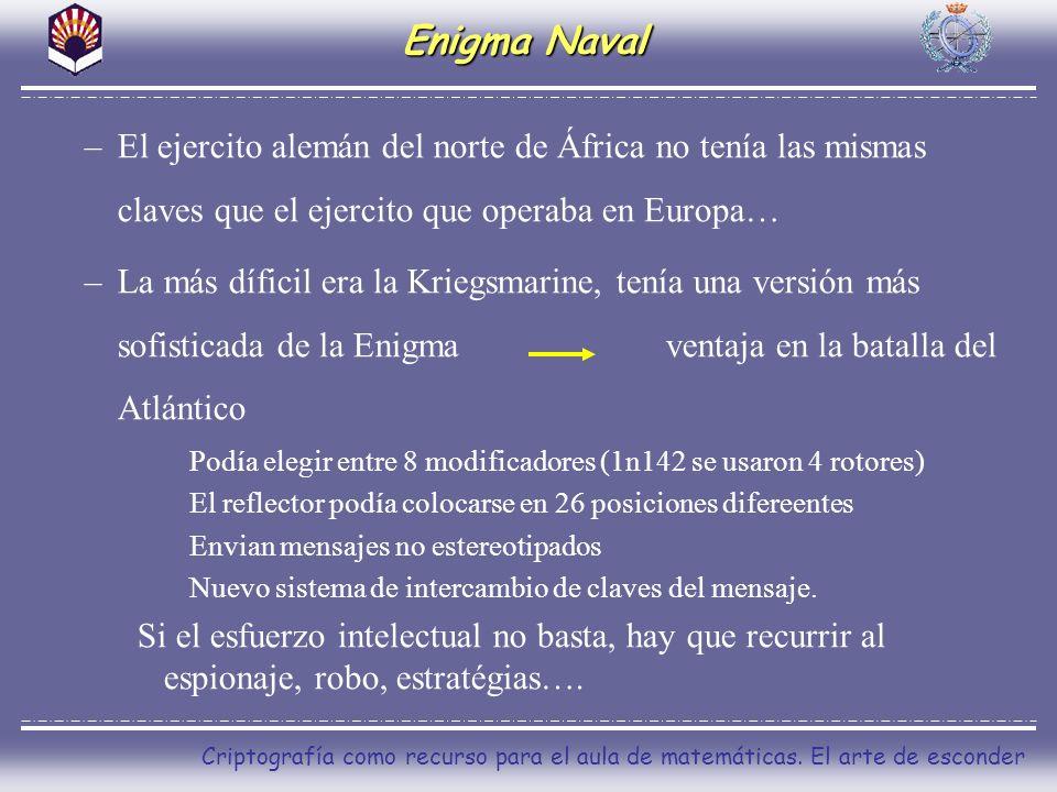 Criptografía como recurso para el aula de matemáticas. El arte de esconder Enigma Naval –El ejercito alemán del norte de África no tenía las mismas cl
