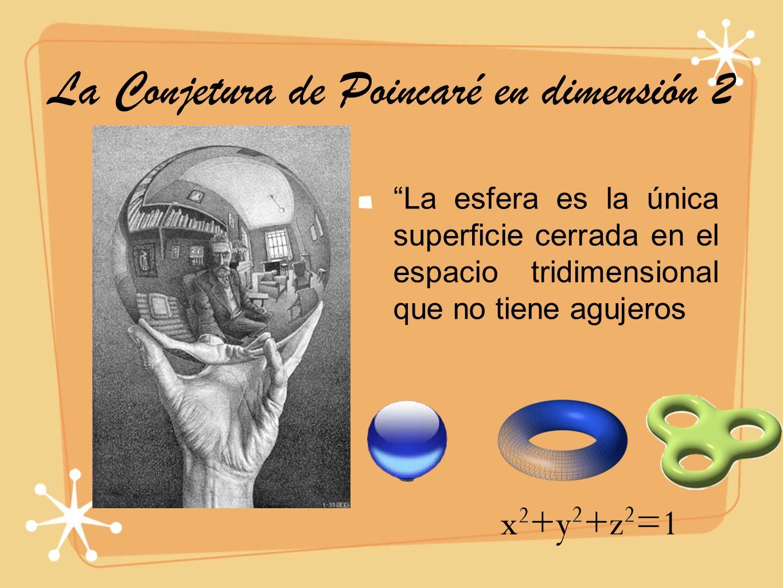 La Conjetura de Poincaré en dimensión 2 La esfera es la única superficie cerrada en el espacio tridimensional que no tiene agujeros x 2 +y 2 +z 2 =1