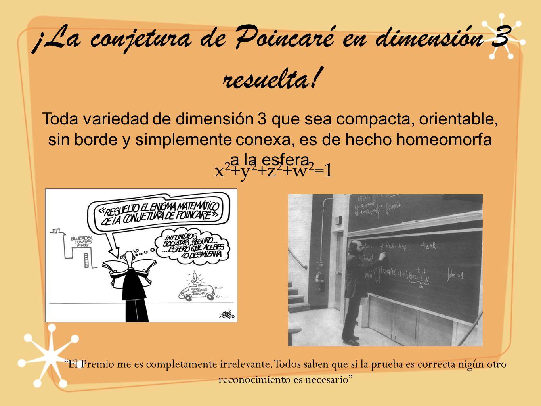 ¡La conjetura de Poincaré en dimensión 3 resuelta! Toda variedad de dimensión 3 que sea compacta, orientable, sin borde y simplemente conexa, es de he