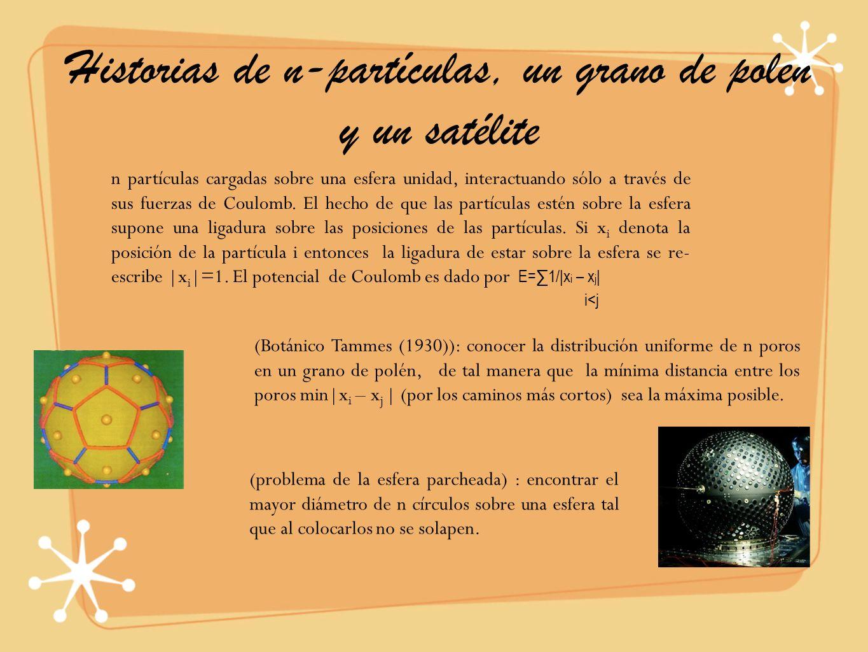 Historias de n-partículas, un grano de polen y un satélite n partículas cargadas sobre una esfera unidad, interactuando sólo a través de sus fuerzas d