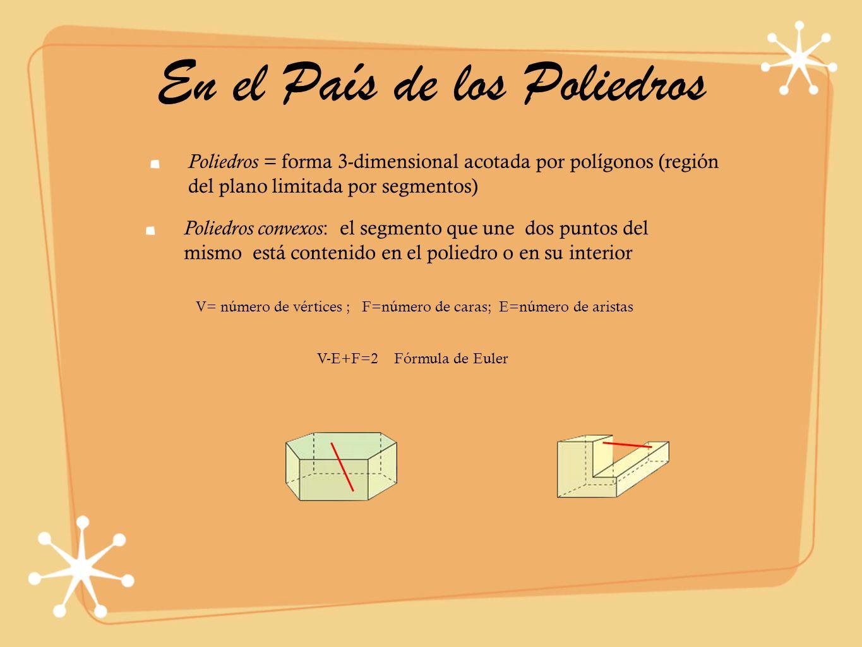 En el País de los Poliedros Poliedros = forma 3-dimensional acotada por polígonos (región del plano limitada por segmentos) V= número de vértices ; F=