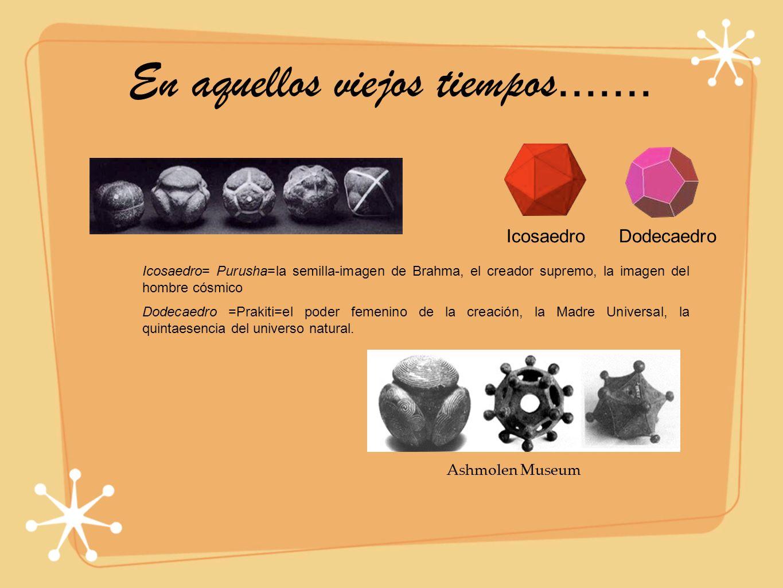 En aquellos viejos tiempos....... Icosaedro= Purusha=la semilla-imagen de Brahma, el creador supremo, la imagen del hombre cósmico Dodecaedro =Prakiti
