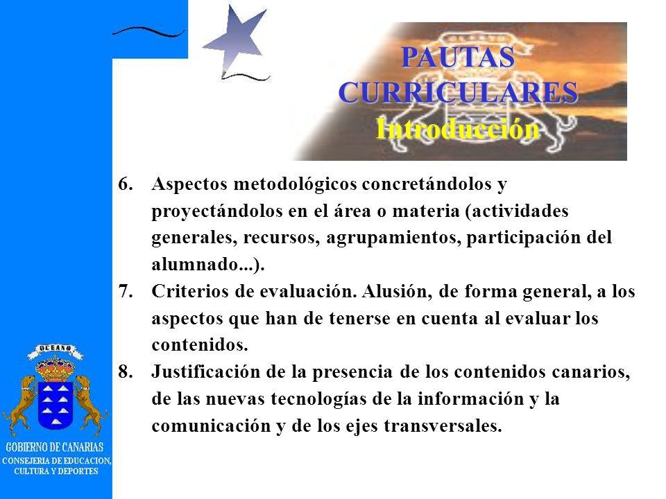 PAUTAS CURRICULARES Introducción 1.Justificación y fundamentación del área o materia. 2.Disciplinas de las que se nutre el área o materia. 3.Relación