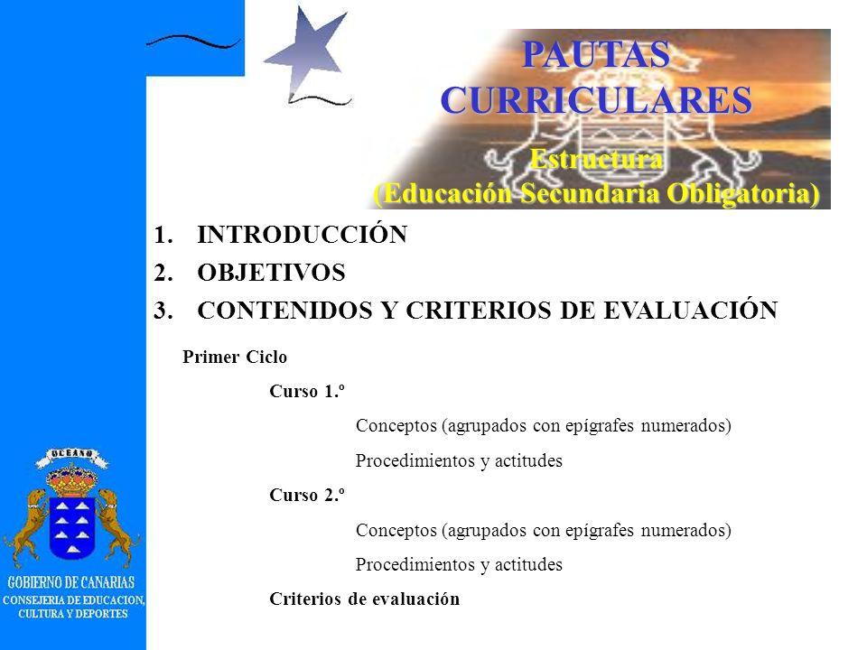 PAUTAS CURRICULARES Introducción 6.Aspectos metodológicos concretándolos y proyectándolos en el área o materia (actividades generales, recursos, agrup