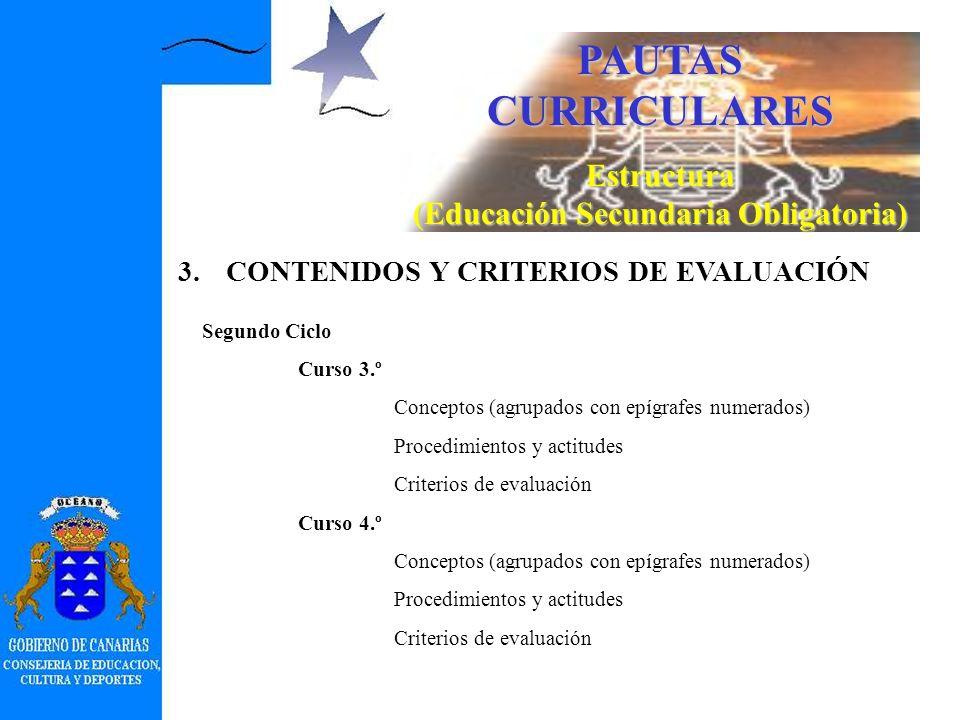 PAUTAS CURRICULARES Estructura (Educación Secundaria Obligatoria) 1.INTRODUCCIÓN 2.OBJETIVOS 3.CONTENIDOS Y CRITERIOS DE EVALUACIÓN Primer Ciclo Curso 1.º Conceptos (agrupados con epígrafes numerados) Procedimientos y actitudes Curso 2.º Conceptos (agrupados con epígrafes numerados) Procedimientos y actitudes Criterios de evaluación