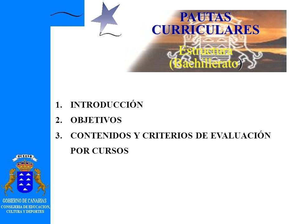 PAUTAS CURRICULARES Estructura (Educación Secundaria Obligatoria) 3.CONTENIDOS Y CRITERIOS DE EVALUACIÓN Segundo Ciclo Curso 3.º Conceptos (agrupados con epígrafes numerados) Procedimientos y actitudes Criterios de evaluación Curso 4.º Conceptos (agrupados con epígrafes numerados) Procedimientos y actitudes Criterios de evaluación