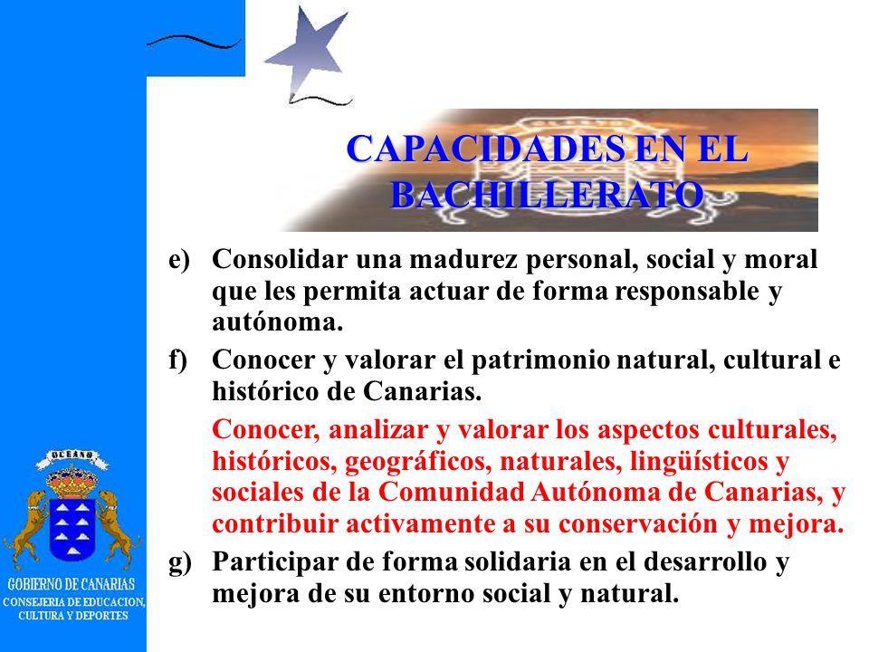 CAPACIDADES EN EL BACHILLERATO a)Dominar la lengua castellana. b)Expresarse con fluidez y corrección en una lengua extranjera. c)Analizar y valorar cr