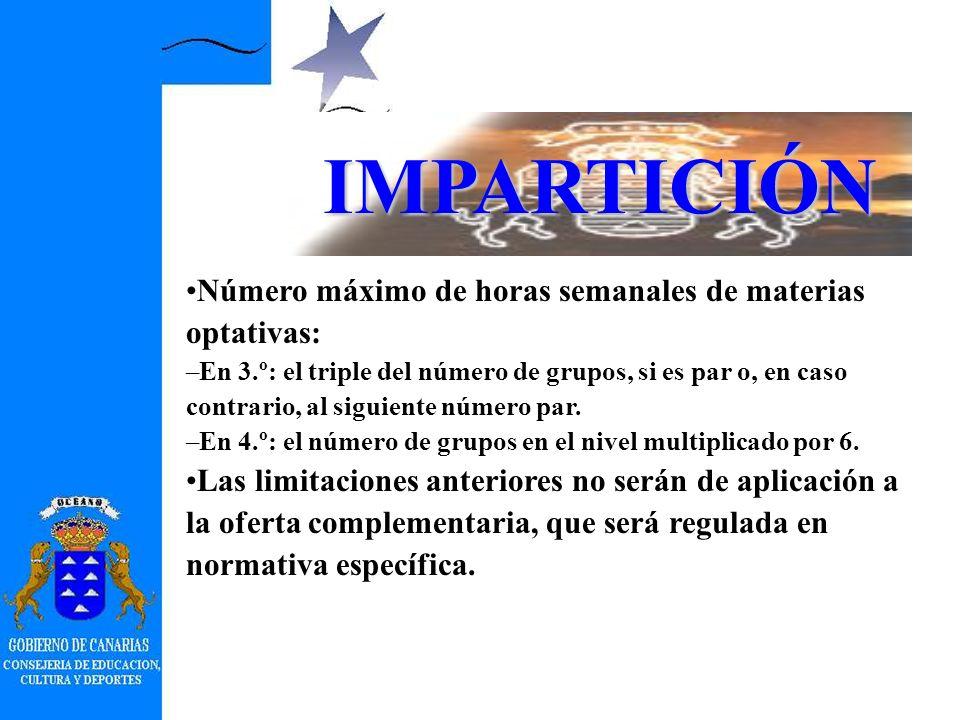 IMPARTICIÓN Número mínimo de alumnos y alumnas para crear optativa o área opcional: 12. Acreditación de un número mínimo de 20 alumnos en cada idioma