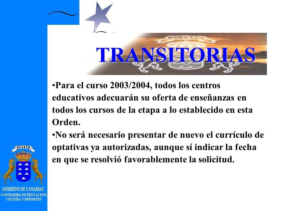 TRANSITORIAS Curso 2002/2003: –Presentación de planes en el plazo de 15 días desde la fecha de publicación de la Orden. –Aplicación de lo dispuesto en