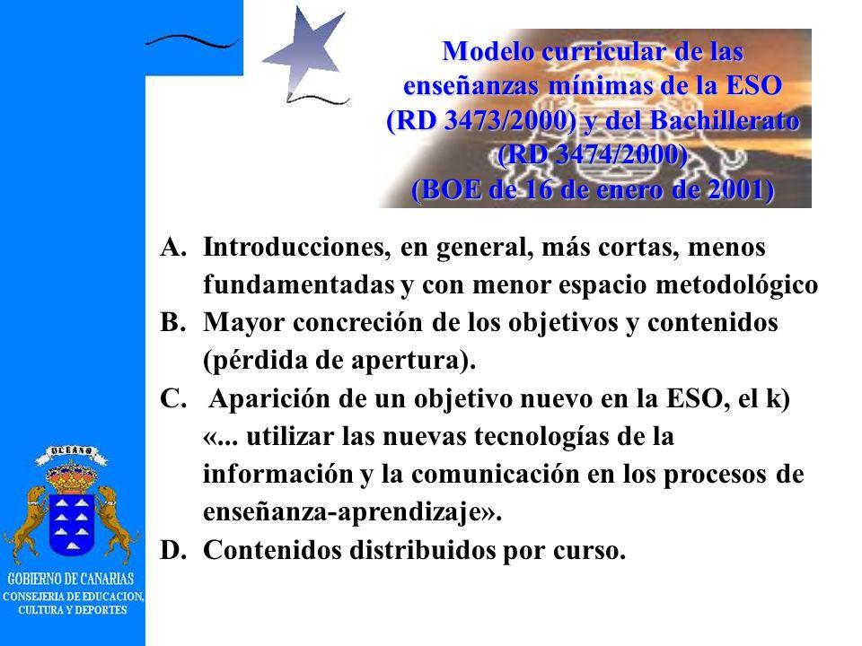 CALENDARIO 2001/2002: difusión, publicación e inserción en Internet. 2002/2003: entrada en vigor de los currículos de primero y tercero de la ESO y pr