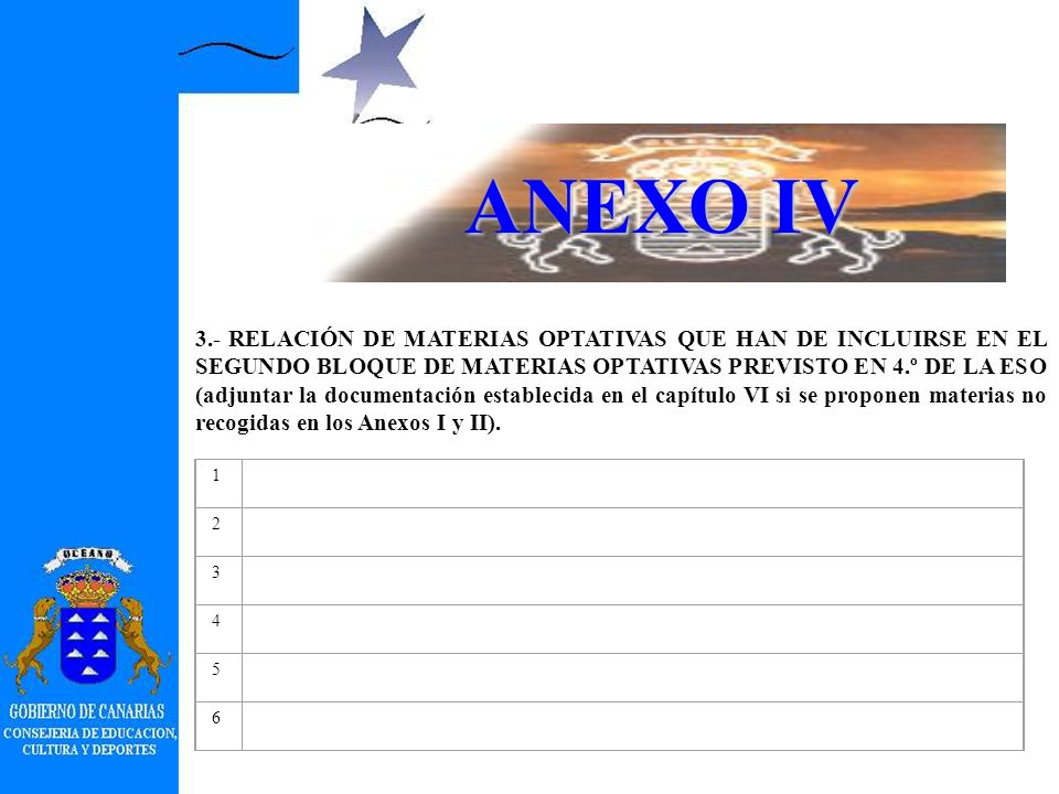 ANEXO IV 2.ORGANIZACIÓN DE LAS OPCIONES PARA 4.º (marcar lo que proceda).