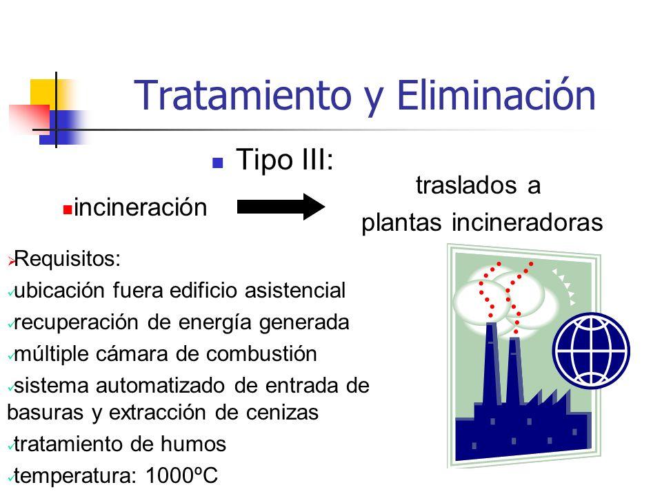 Tratamiento y Eliminación Tipo III: incineración traslados a plantas incineradoras Requisitos: ubicación fuera edificio asistencial recuperación de en