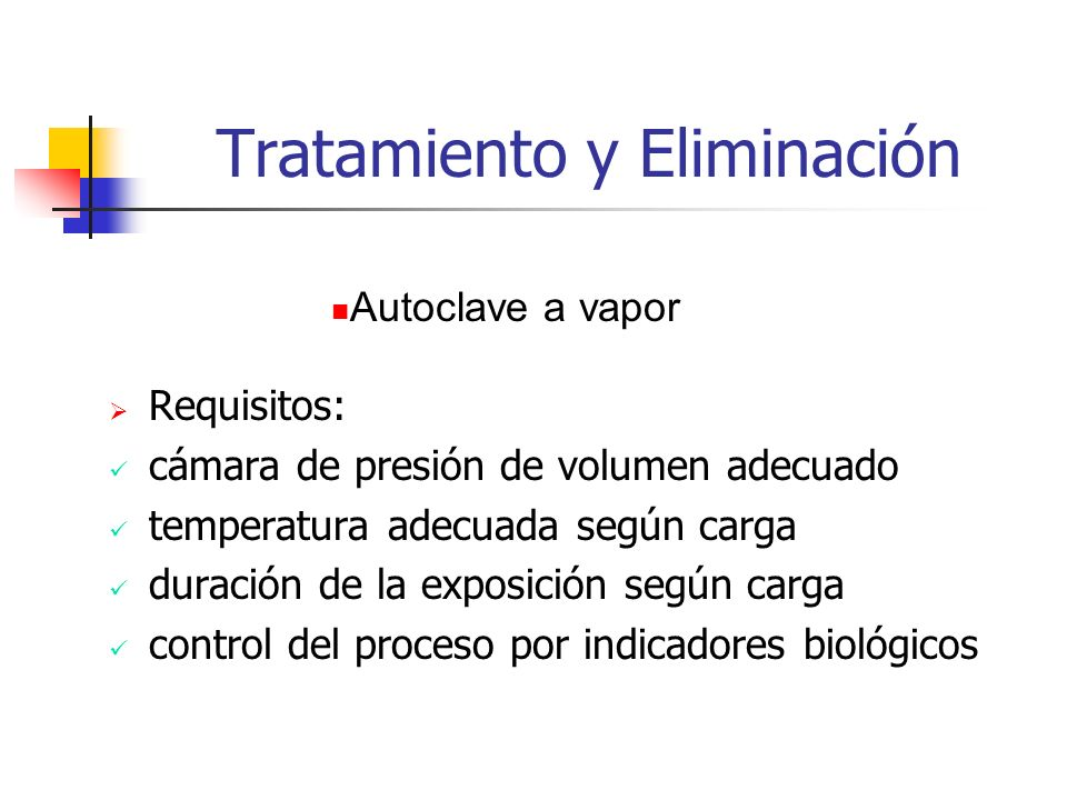 Tratamiento y Eliminación Requisitos: cámara de presión de volumen adecuado temperatura adecuada según carga duración de la exposición según carga con