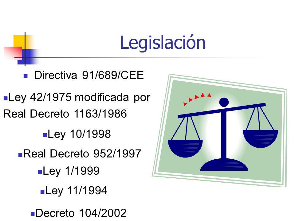 Legislación Directiva 91/689/CEE Decreto 104/2002 Ley 11/1994 Ley 1/1999 Real Decreto 952/1997 Ley 10/1998 Ley 42/1975 modificada por Real Decreto 116