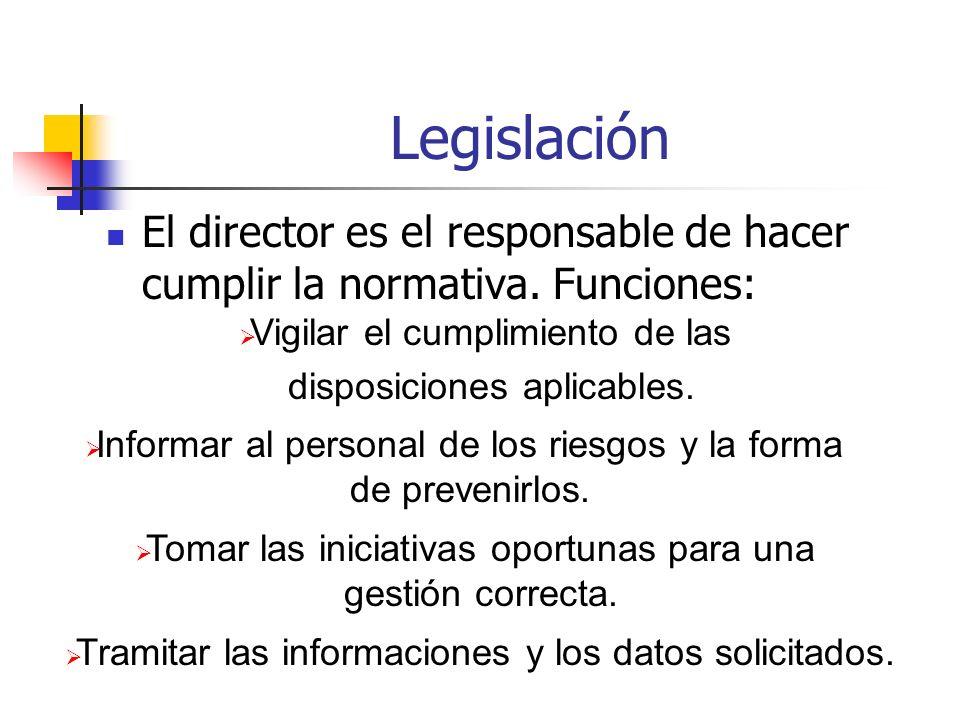 Legislación El director es el responsable de hacer cumplir la normativa. Funciones: Tramitar las informaciones y los datos solicitados. Tomar las inic