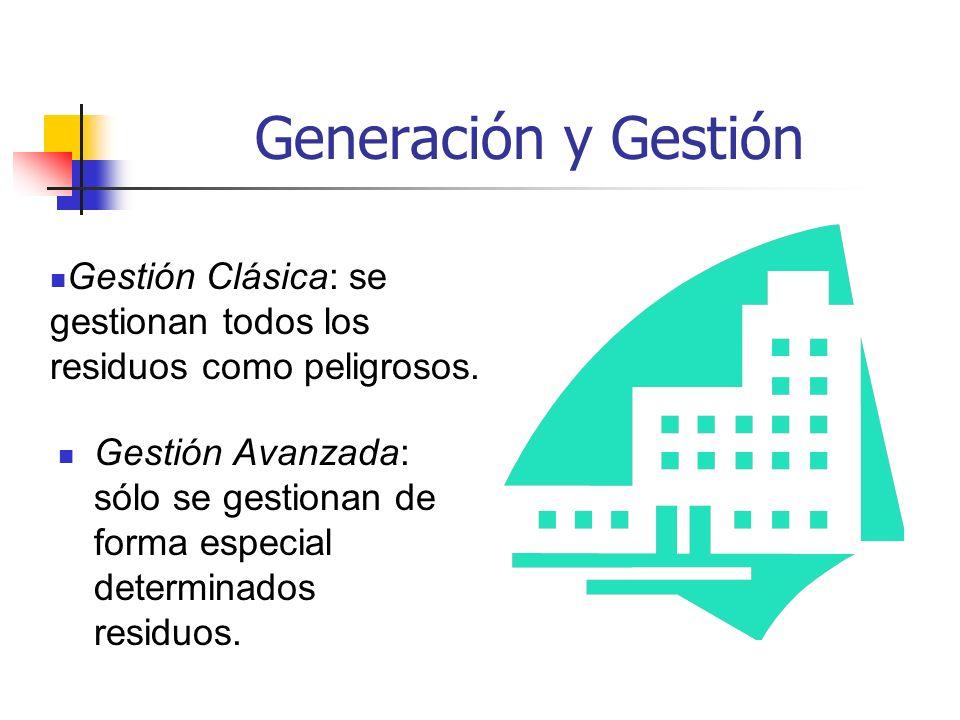 Generación y Gestión Gestión Avanzada: sólo se gestionan de forma especial determinados residuos. Gestión Clásica: se gestionan todos los residuos com