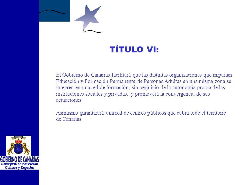 TÍTULO V: El Gobierno de Canarias podrá fomentar la coordinación y colaboración social formalizando convenios de colaboración con Federaciones, Asocia