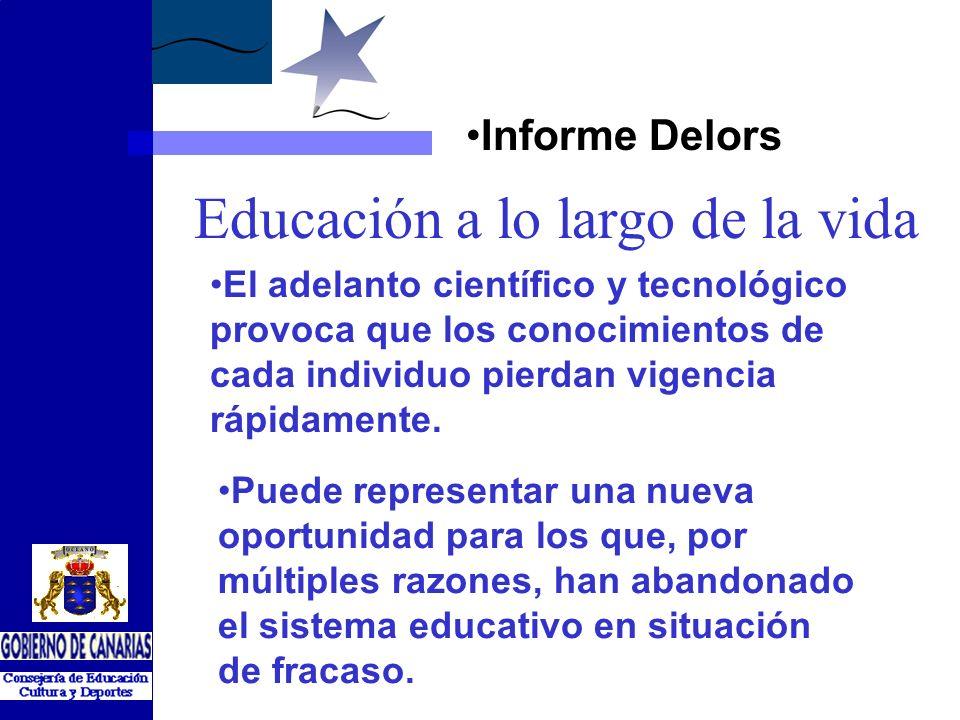 Informe Delors Educación a lo largo de la vida El adelanto científico y tecnológico provoca que los conocimientos de cada individuo pierdan vigencia rápidamente.